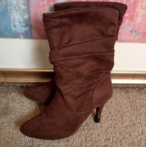 Shoes - Brown suede heeled boots